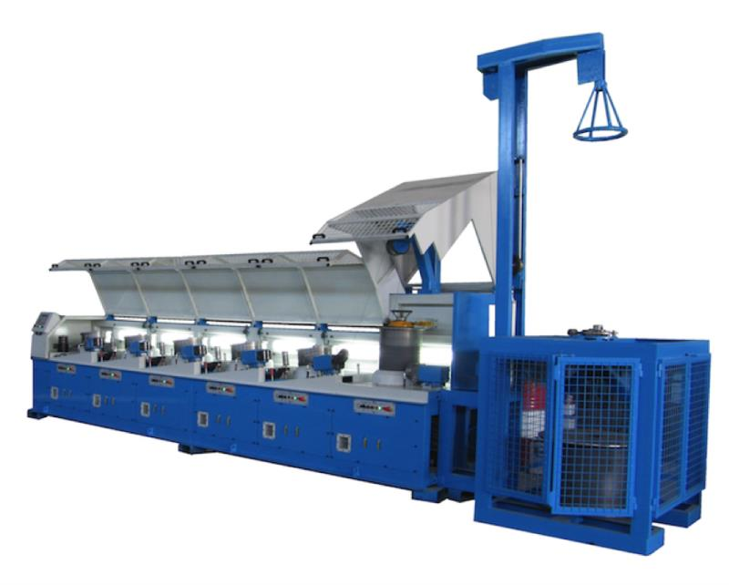 SMS600-6 INCLINED-BLOCK WIRE DRAWING MACHINE WITH DENSER LEVER + BASKET WRAPPER + COILER (ENTRY 6.00mm SORTIE 2.40mm)